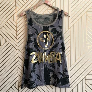 Zumba • women's S workout tank top loose tropical